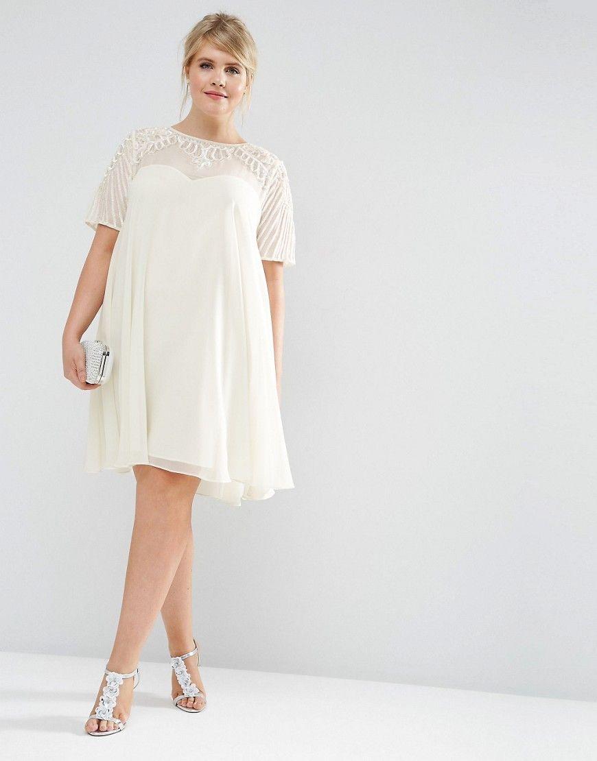 Bild 17 von ASOS CURVE – Ausgestelltes Kleid mit verzierter Passe