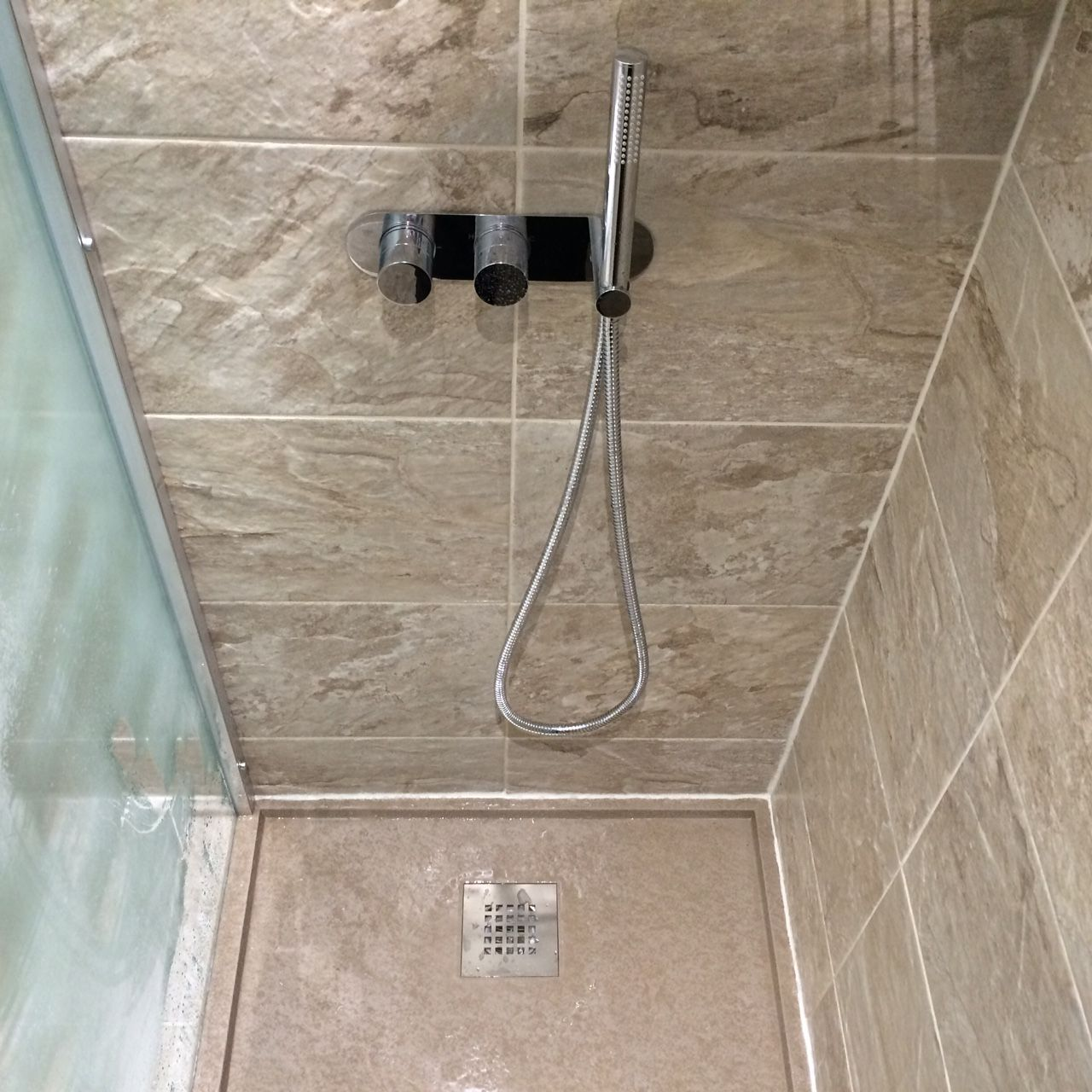 Tiled Shower Tray shower tray - fiora, silex tray, cappucino. shower valve