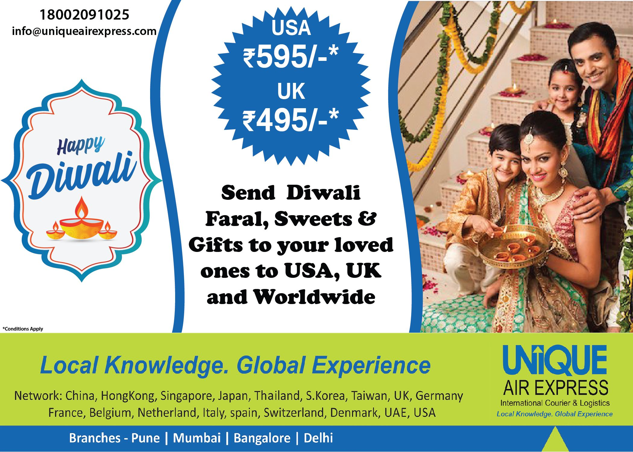 Send Diwali Parcel to USA, UK and Worldwide Sweets gift