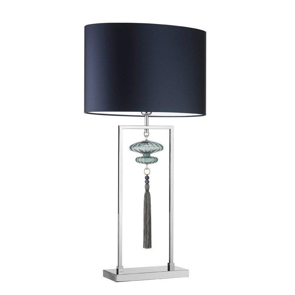 Heathfield & Co Constance Table Lamp Large Nickel Opal Jade