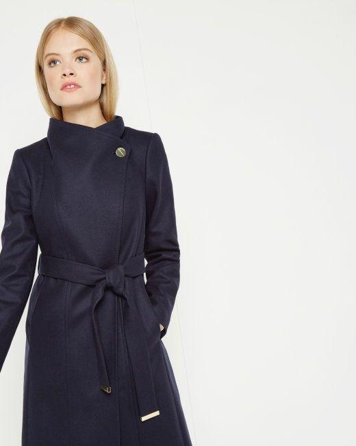Long wool wrap coat - 'Lorili' Navy Ted Baker Size 1   Wrap coats ...