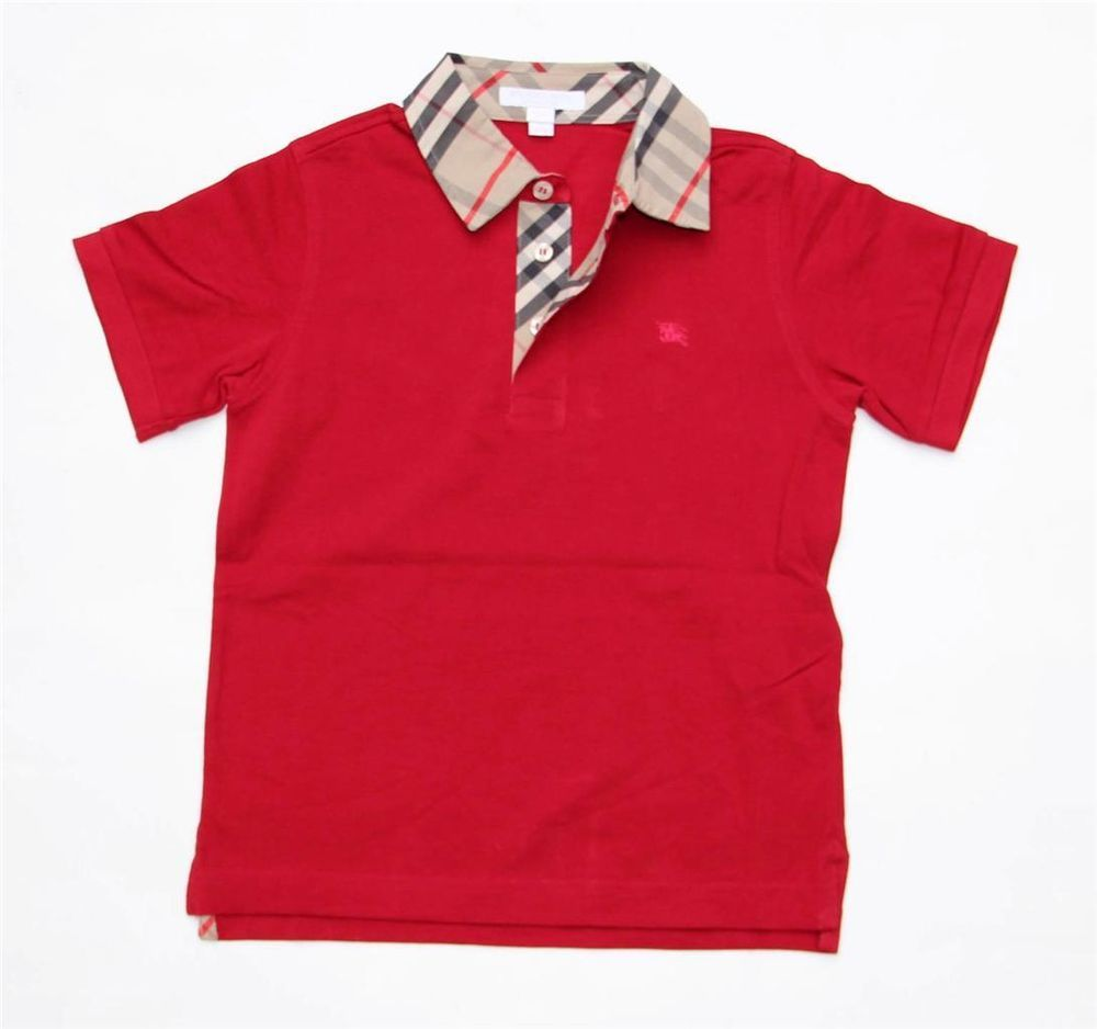 a61a92e8 NEW Authentic BURBERRY Boys Check Collar Polo Shirt T-shirt Red Size 8 12 Y  #BURBERRY#RED#BOYS#FASHION#POLOSHIRT#MODA#CHECK#NINOS