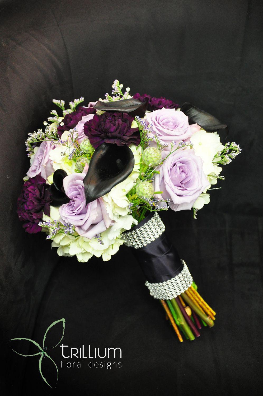 Trillium Floral Designs Wedding Black Calla Lily Purple Carnations Wedding