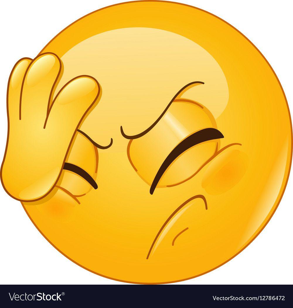 Face palm emoticon vector image on | Funny emoticons