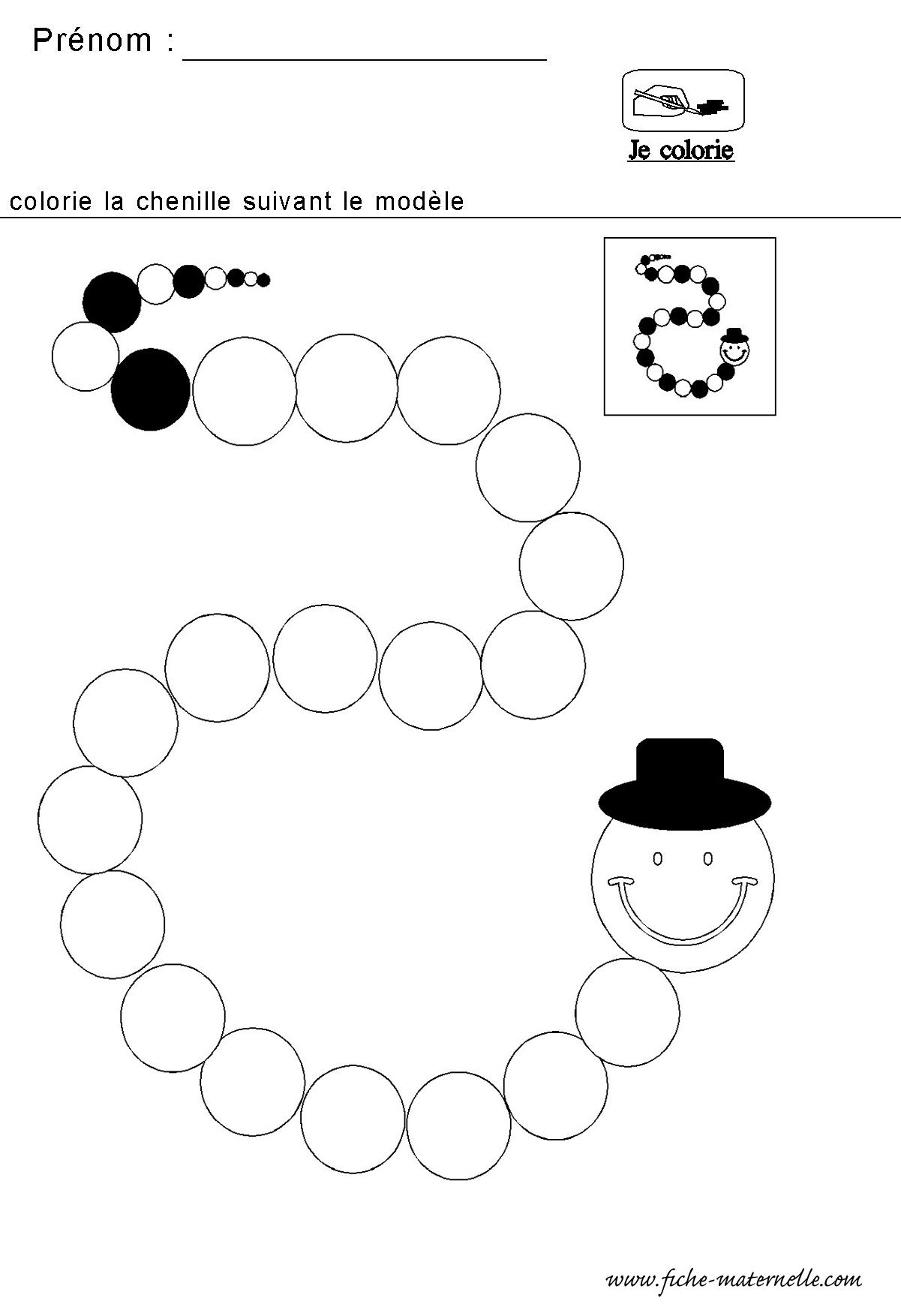 Chenille Avec Des Cercles Maternelle En Coloriage