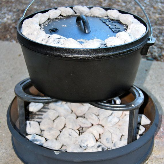 Campfire pot stand heavy duty 3 legged stand cooking on for Cast iron dutch oven camping recipes