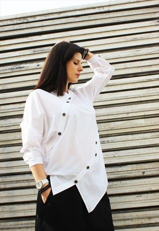 WHITE ASYMMETRIC SHIRT, LOOSE SHIRT, LOOSE TUNIC, B0002