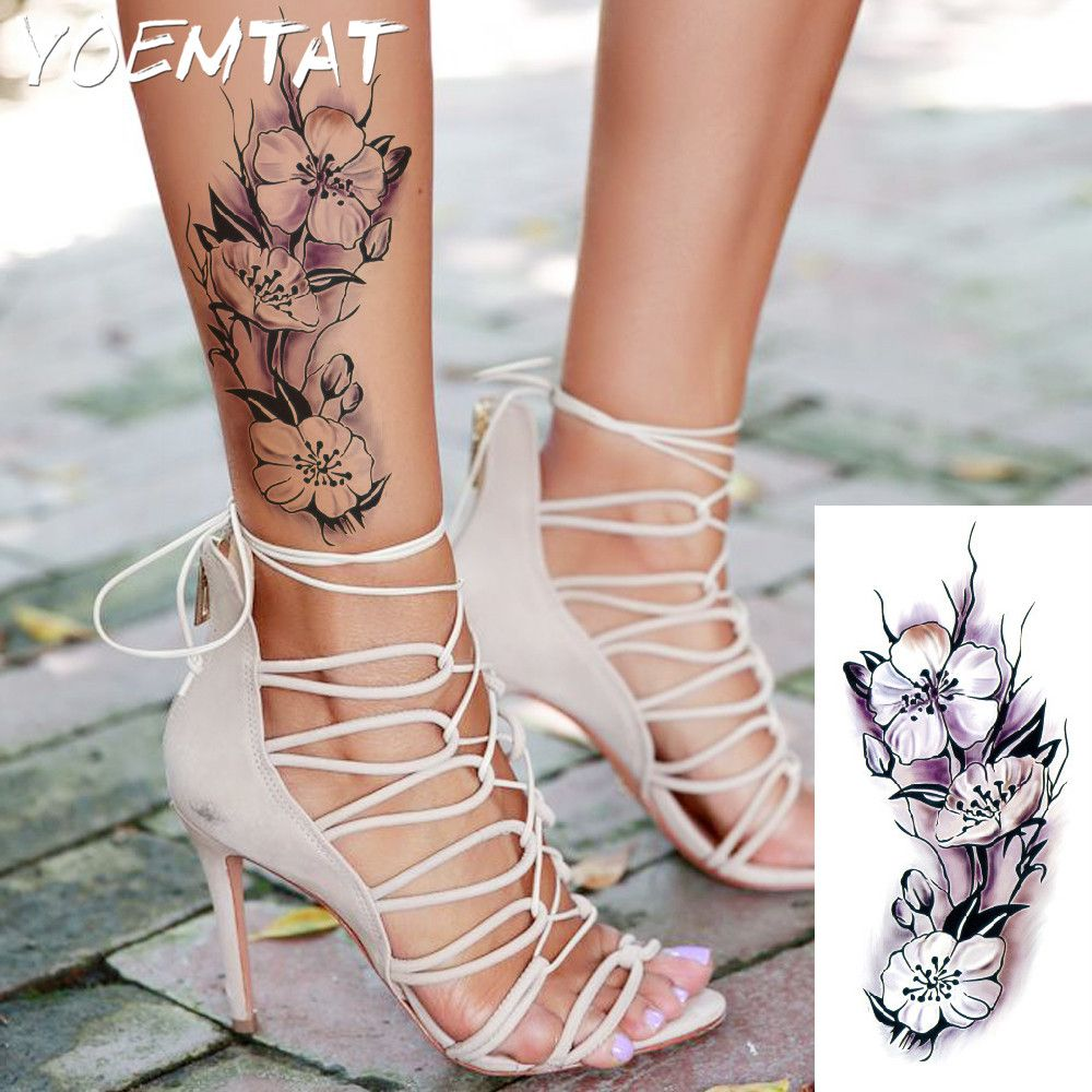 Lifelike raspberry flower arm shoulder tattoo stickers flash henna