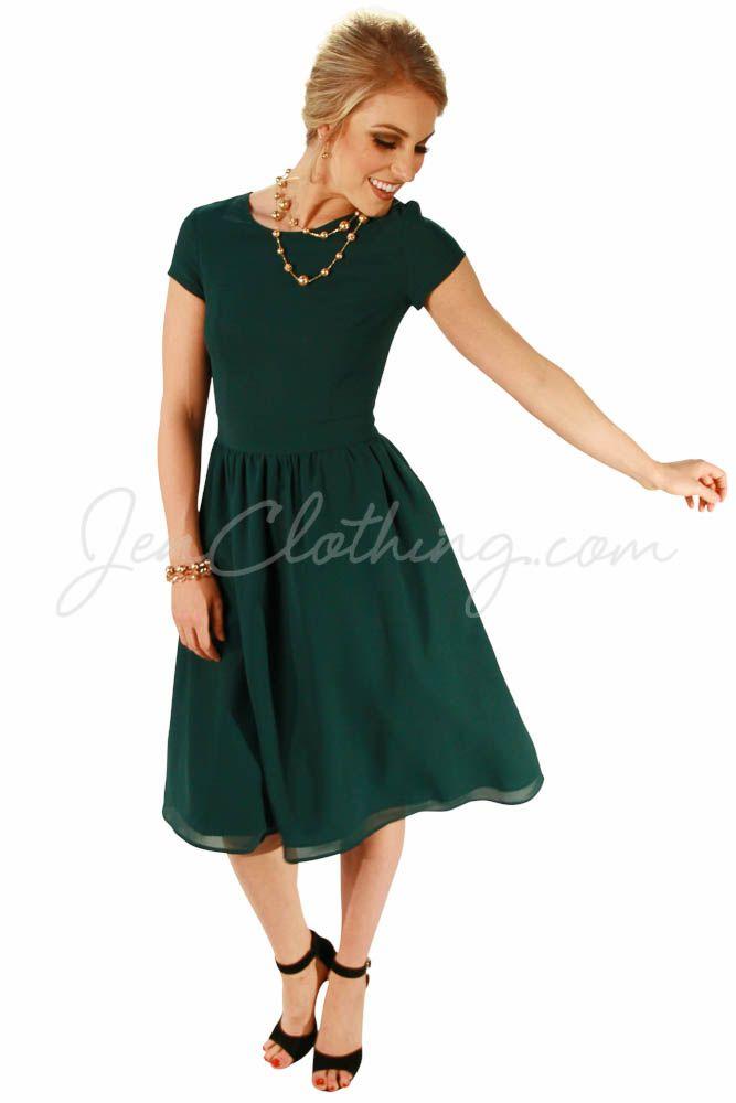 5e7f1749cc5 Modest Christmas Dress in Dark Forest Green