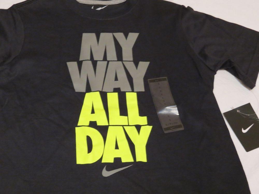 Nike smack talk MY WAY ALL DAY Boy's youth black T shirt medium M MD 620628  NEW