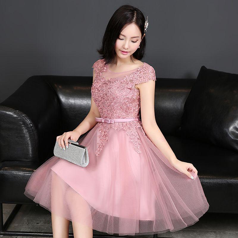 Barato 100% imagens reais 2016 poeira rosa lace apliques vestidos ...