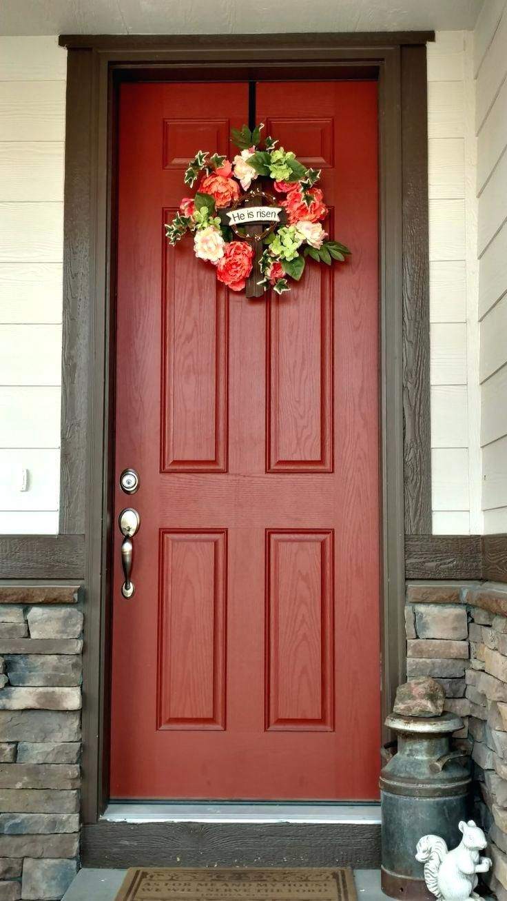 Cream and chocolate brown house with burnt orange door and - Front door colors for brick houses ...