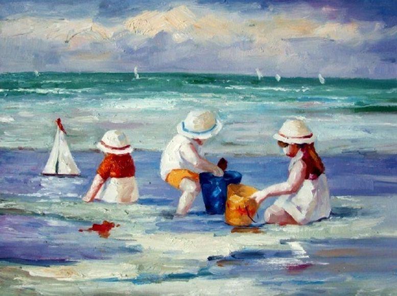 les enfants la plage peinture l 39 huile sur toile tableau sc ne de mer peinture pinterest. Black Bedroom Furniture Sets. Home Design Ideas