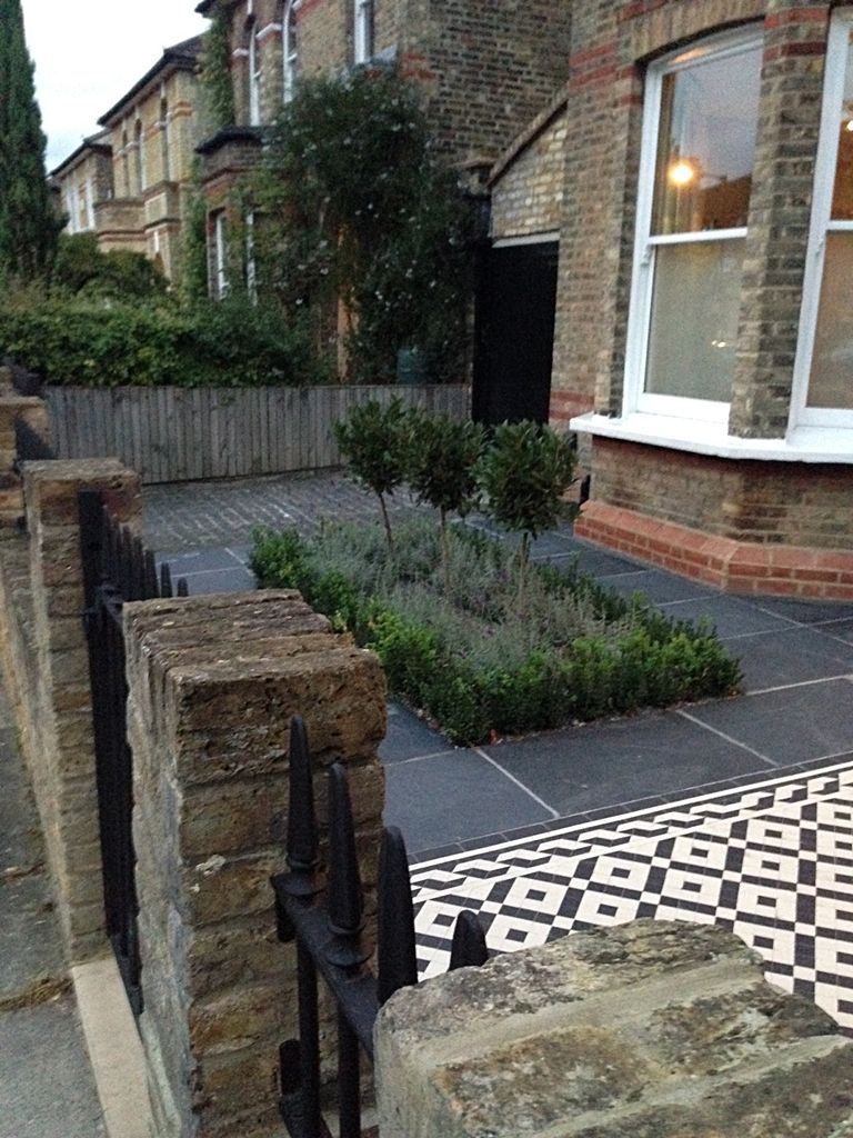 Front Garden Ideas London mosaic path knot garden slate paving london | garden ideas