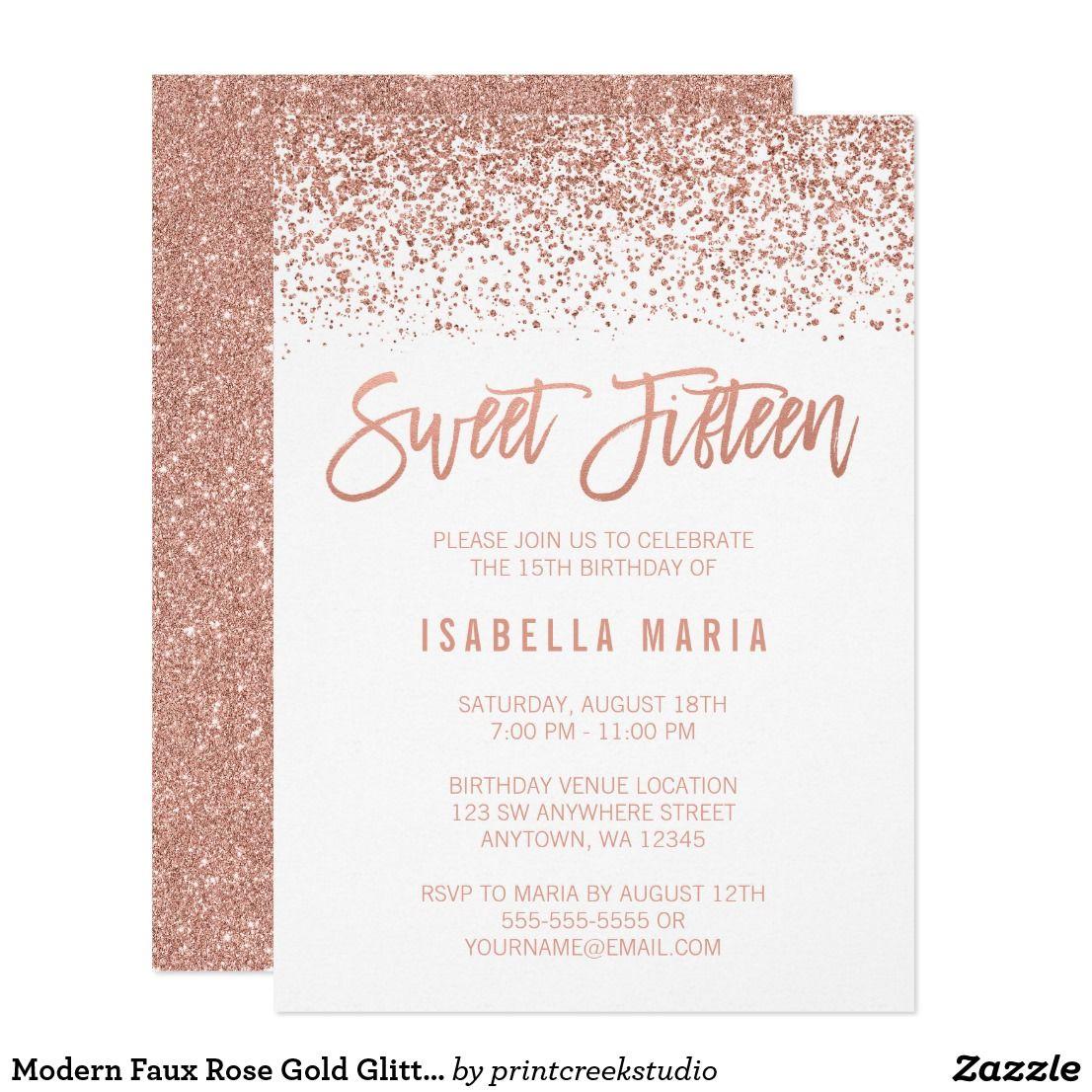 modern faux rose gold glitter sweet 15