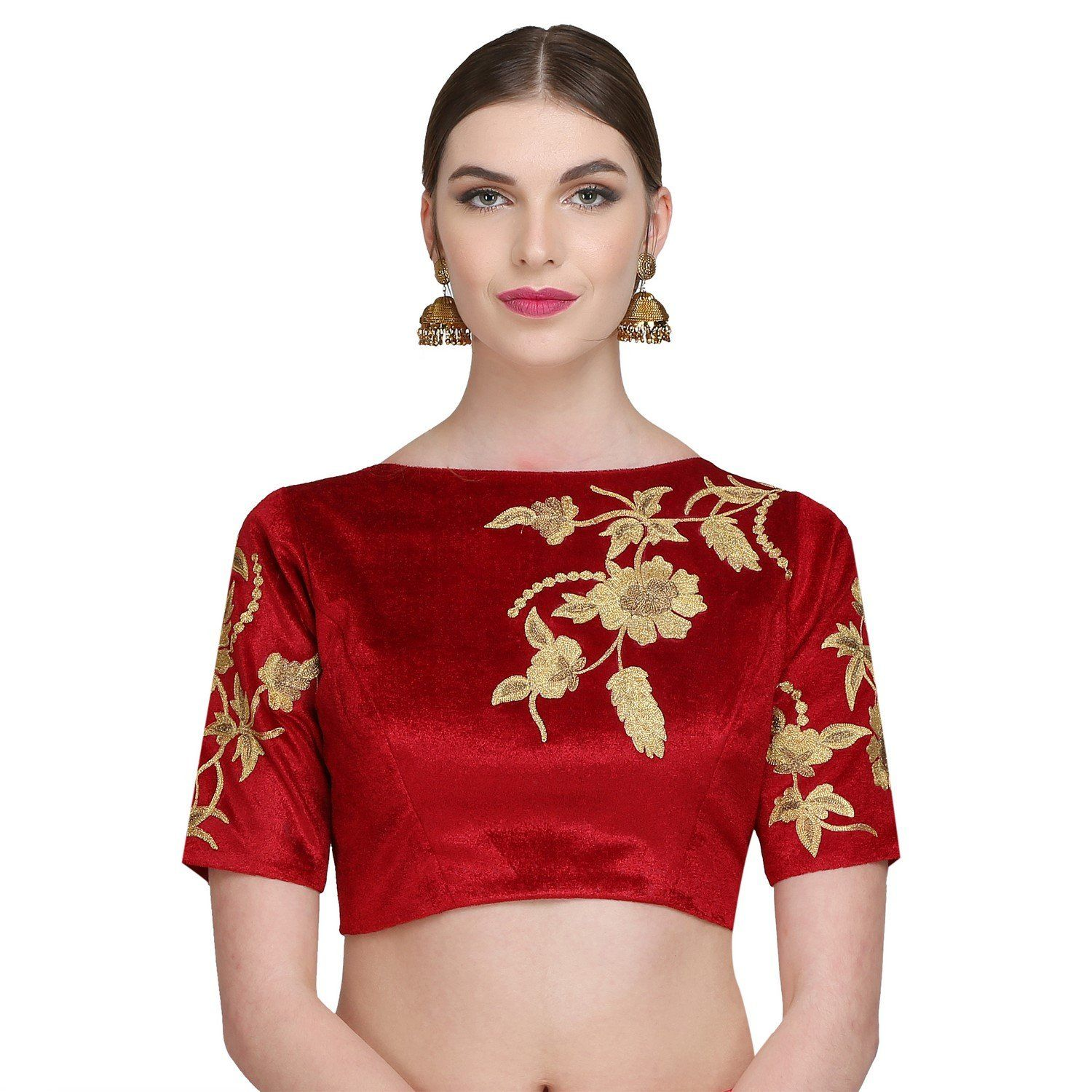 b9241c71ff327 Kaanchie Nanggia Women s Velvet   Poly Dupion Embroidered Padded Designer  Saree Blouse  Amazon.in  Clothing   Accessories