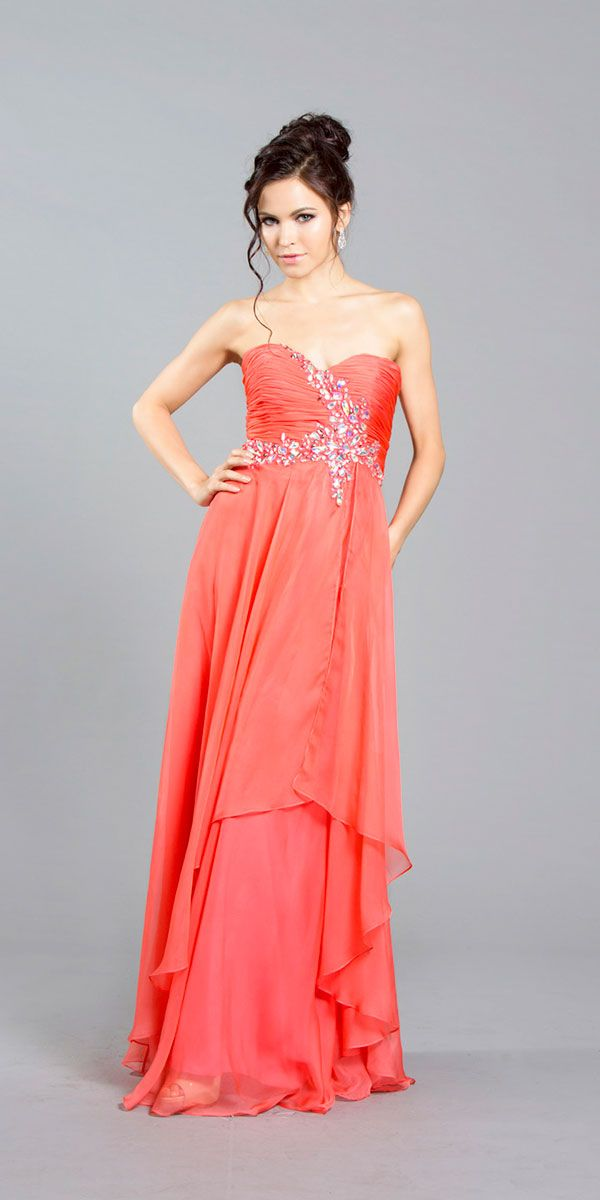 Coral Full Length Crystal Strapless Gown DL1242-CO $134.00 on www.PromDressLine.Com Extra 15% Off Coupon : 2014P15OFF Expires: 3/31/2014