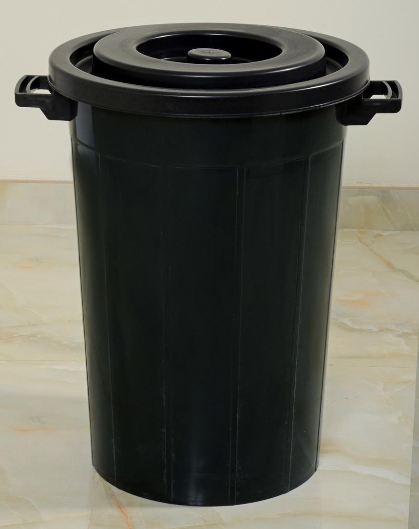 درام 65 لتر أسود Black Waste Basket 65 Liter Plastic Items Trash Can Tall Trash Can
