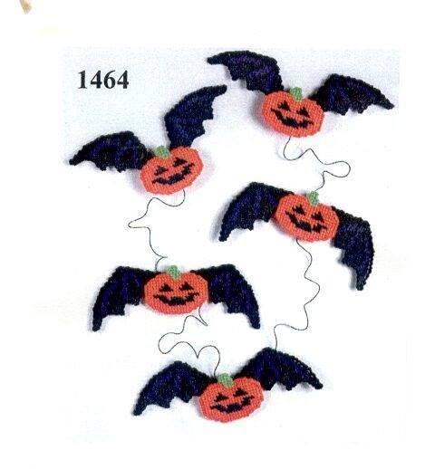 Bat Pumpkin Garland * 1/3 Plastic Canvas 10 Pinterest Garlands - patterns for halloween decorations