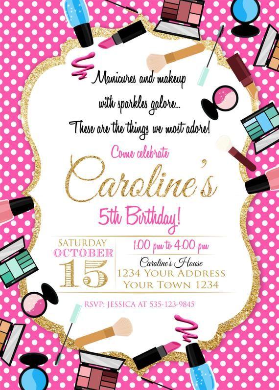 Makeup Birthday Party Invitation Makeup Invitation Spa Birthday