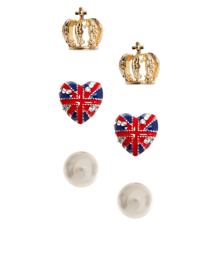 River Island Pack Of Three Pearl Crown And Union Jack Heart Earrings