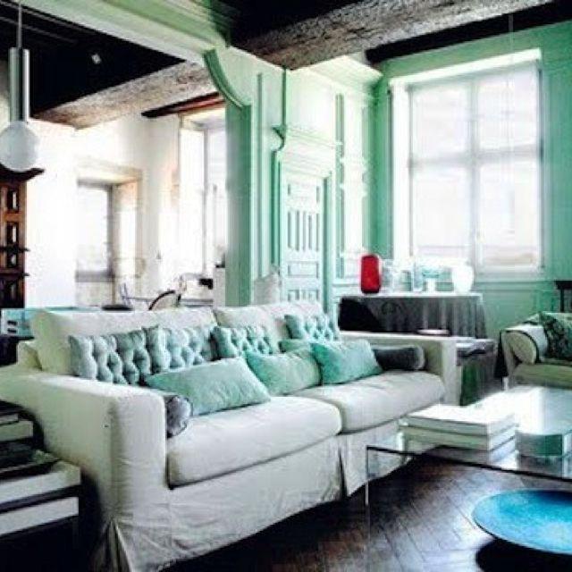 Green Living Room Ideas For Soothing Sophisticated Spaces: Living Verde Caribe Y Blanco... Linda Combinación! 1 Litro