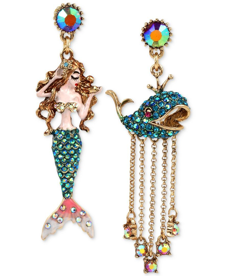 Betsey Johnson Goldtone Crystal Pave Mermaid And Whale Mismatch Drop  Earrings