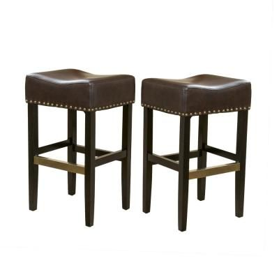 Noble House Louigi 30 In Brown Backless Bar Stools Set Of 2