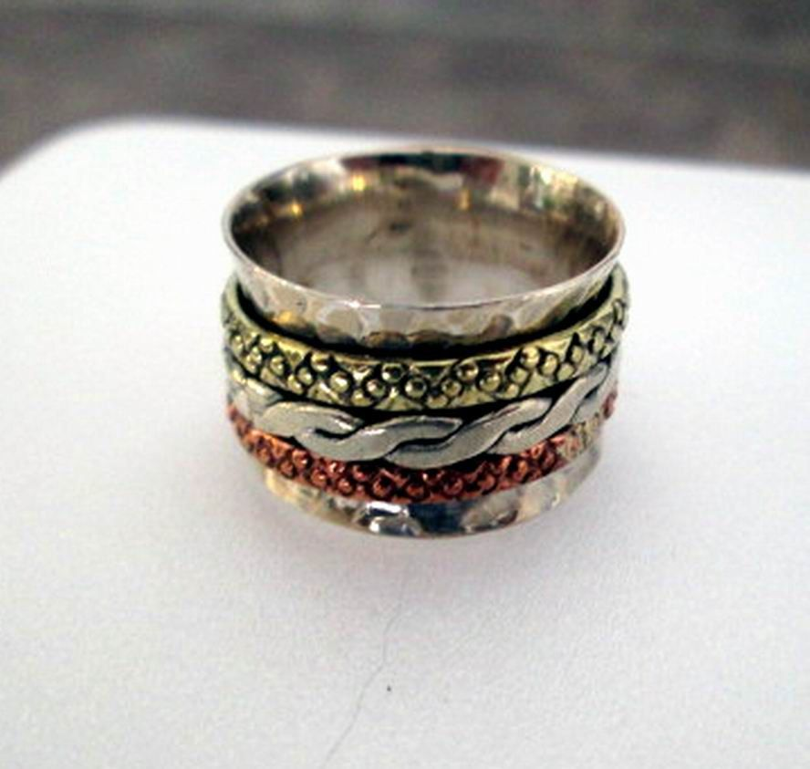 RING  - SPINNING -  spinner  - Braid -  ORNATE - Three Tone - 925 - Sterling Silver - Size 6 1/4   spinner136 by MOONCHILD111 on Etsy
