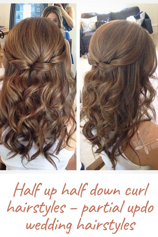 Half Up Half Down Curl Hairstyles Partial Updo Wedding Hairstyles Half Updo Hairstyles Up Dos For Medium Hair Partial Updo