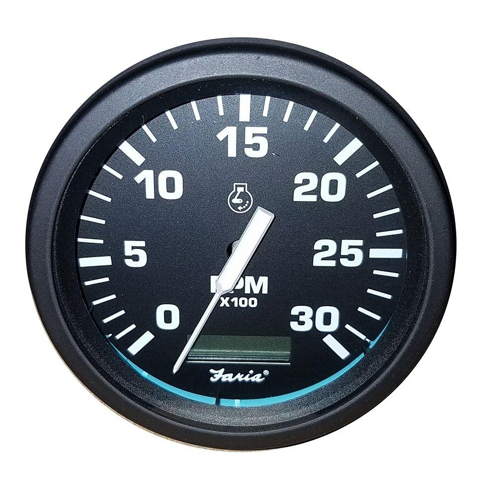 "Faria Beede Instruments 33710 Chesapeake Black Ss 4/"" Tachometer 6 000 Rpm Gas"