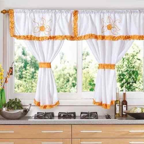 Cortinas para cocina con galera en color naranja for Decoracion de cortinas para cocina