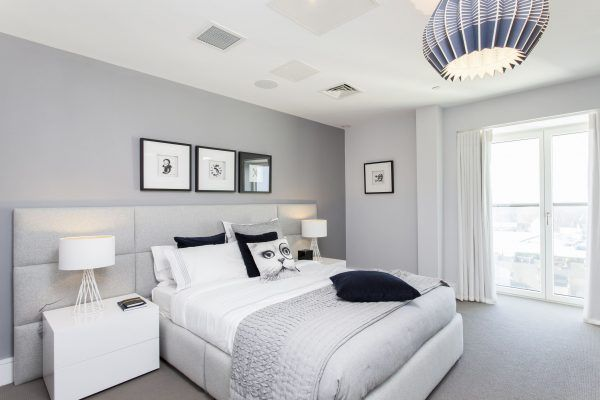A Bedroom With Grey Wall White Furniture And Grey Carpet Floor Gray Master Bedroom Light Gray Bedroom Grey Bedroom Decor