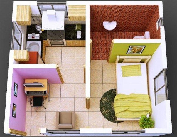 Desain Denah Rumah Mini Type 27 Tampak Luas Denah Rumah Kecil