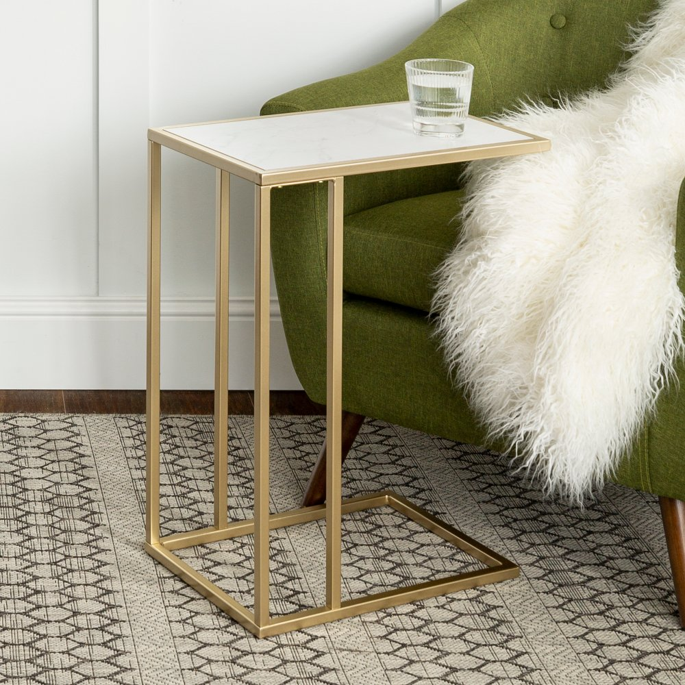 Best Modern End Table White Faux Marble Gold Contemporary 400 x 300