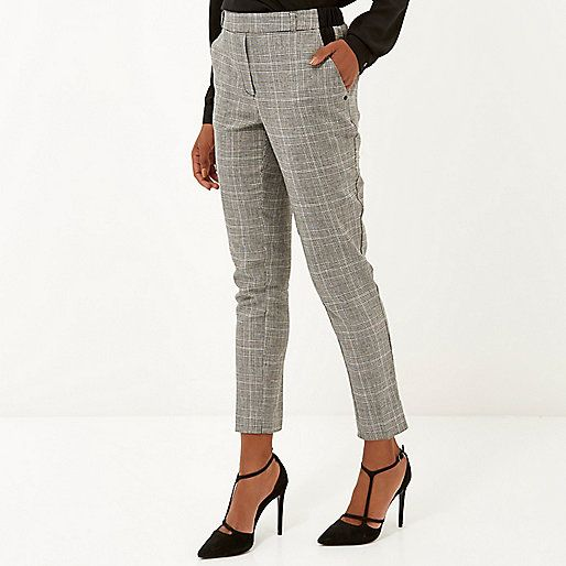 0afb88618668 Grey Prince of Wales check trousers - skinny trousers - trousers - women