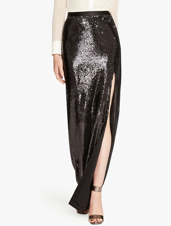 Bi Colored Sequined Skirt