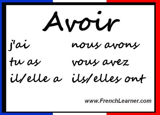 Avoir conjugation also french verbs chart rh pinterest