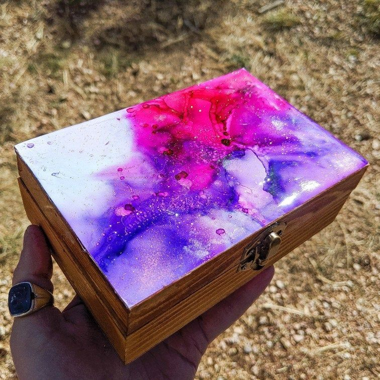Alcohol Ink & Resin Wooden Jewelry/ Stash Box (With images