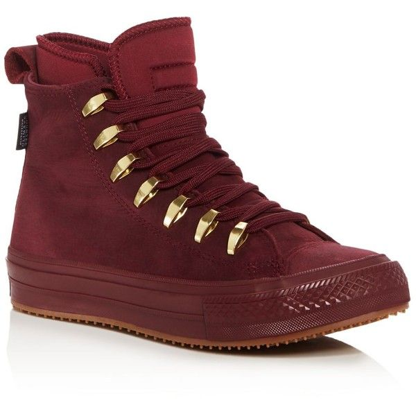 Converse Chuck Taylor All Star Ii High Top Sneakers (€140) ❤ liked on Polyvore featuring shoes, sneakers, flats, maroon, flat pumps, converse shoes, waterproof sneakers, flat shoes and hi tops