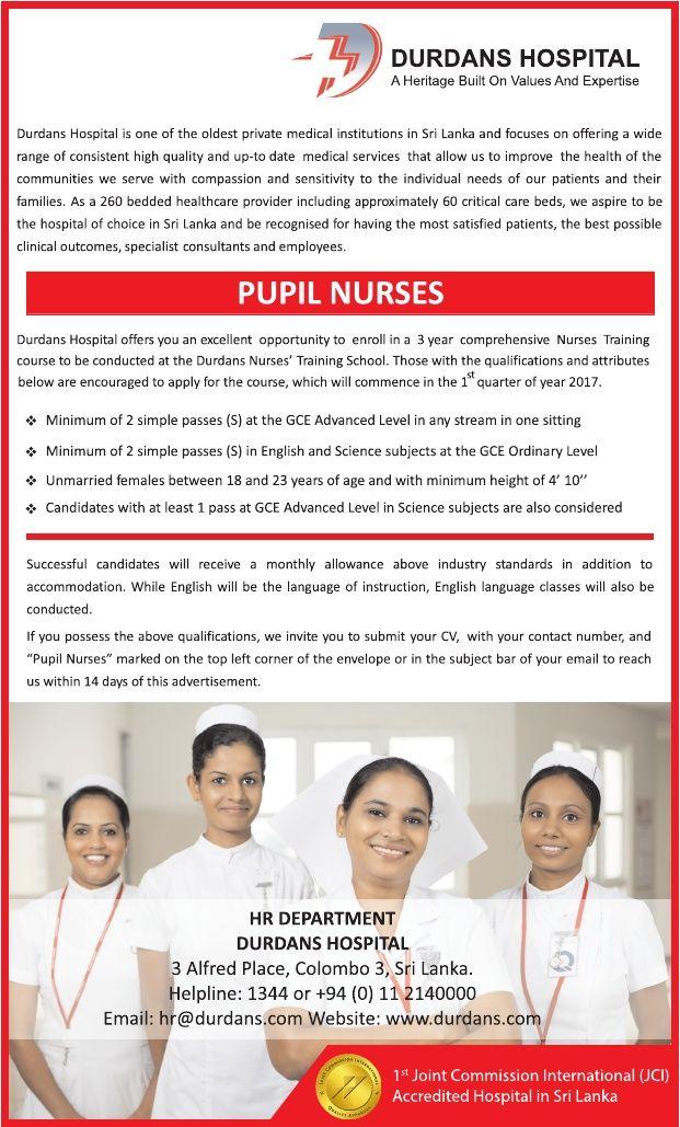 Pupil Nurses Females at Durdans Hospital | Career First