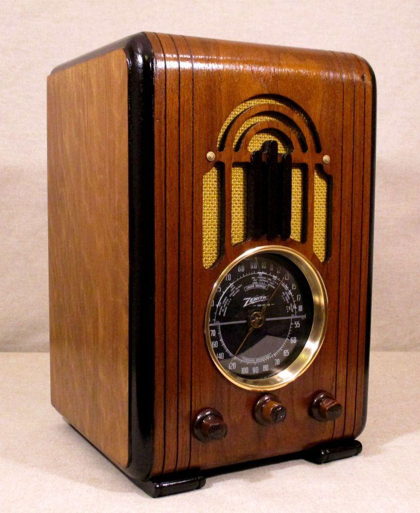 Old Antique Wood Zenith Vintage Tube Radio Restored Working W Black Dial Zenith Antique Radio Vintage Stereo Console Vintage Radio