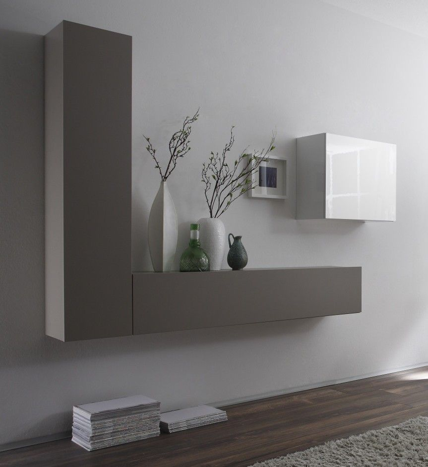 Ensemble De Meubles Suspendus Design Laqu S Blanc Brillant Et Gris  # Meuble Living Blanc Laque Brillant