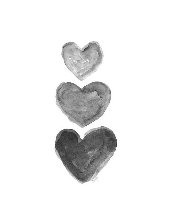 black heart watercolor print charcoal art grey art black and