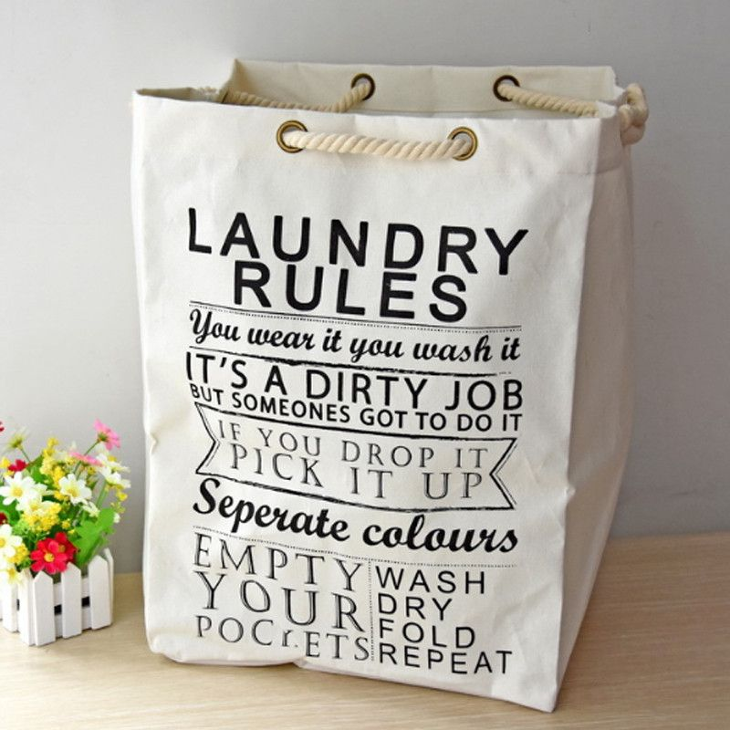 Laundry Rules Funny Laundry Bags Washing Cleaning Bag With Hemp