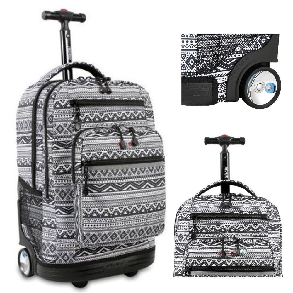 Wheeled Rolling Backpack Carry On Luggage Roller Bag Tote Trolley Book New Bookbag Travel Tactical Military