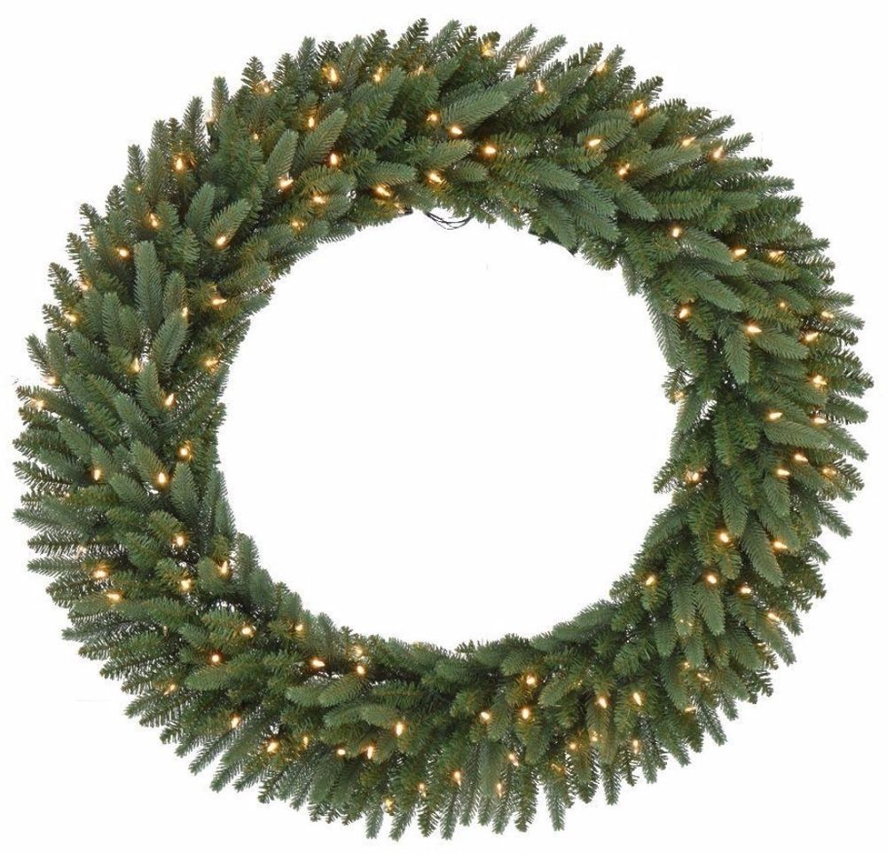 Pre-Lit Artificial Christmas Wreath with 120 Warm White ...