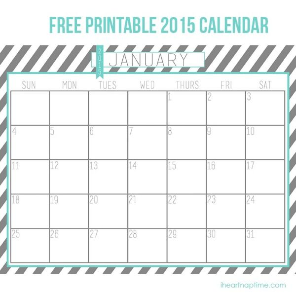 Aqua Grey Printable Calendar From I Heart Naptime Organization