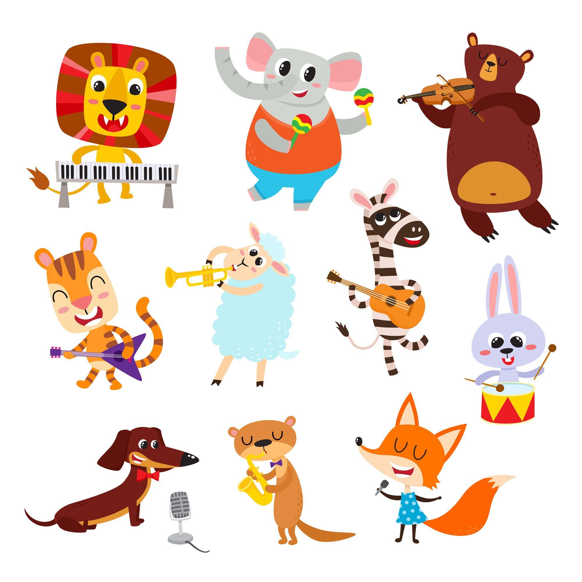 Let S Celebrate Animals Musicians Animal Illustration Kids Cute Cartoon Animals Cartoon Animals