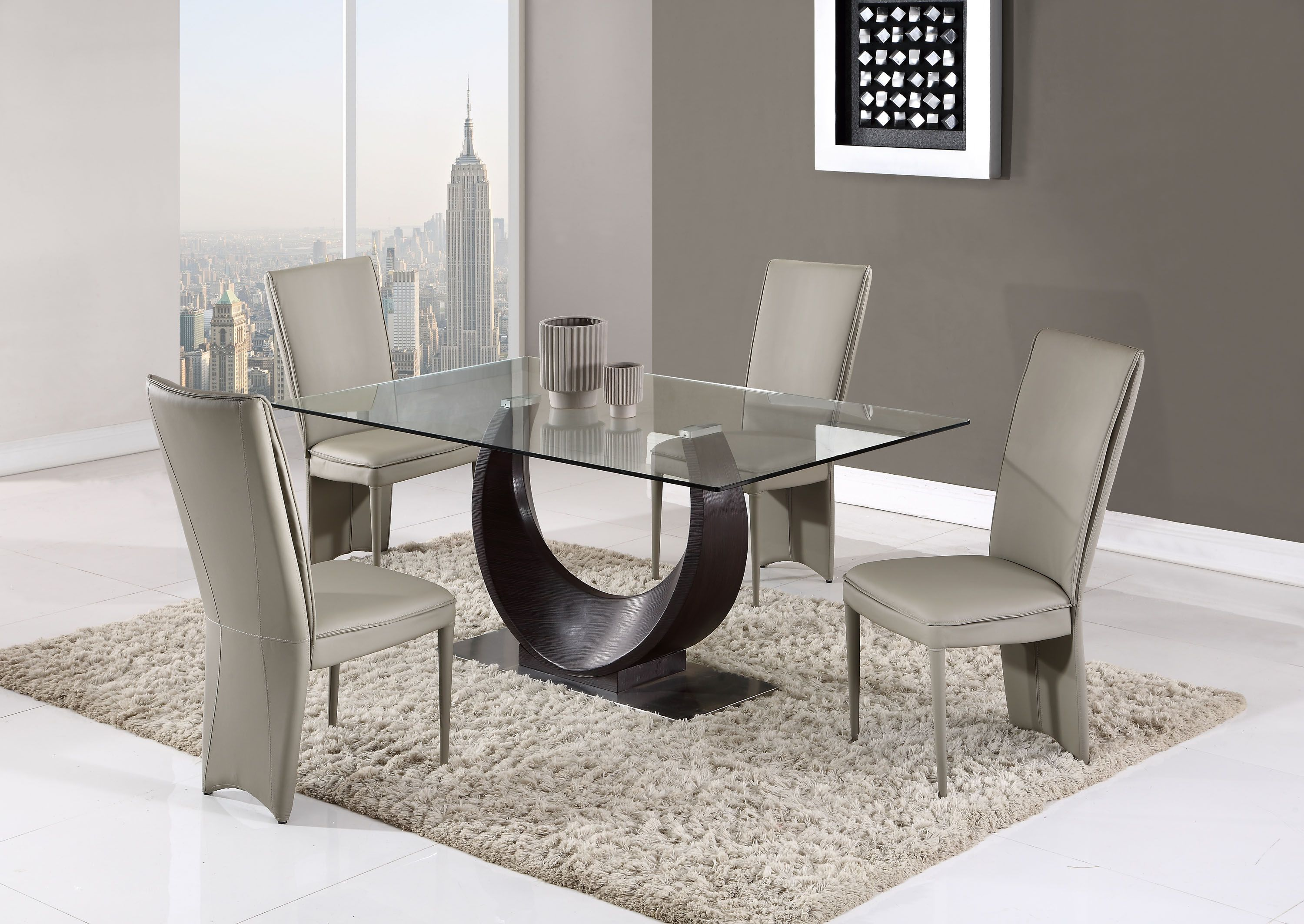 Contemporary Half Moon Glass Table With Taupe Side Chairs Dining Table Design Contemporary Glass Dining Room Global Furniture